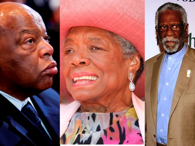 Rep. John Lewis, Maya Angelou and Bill Russell (AP Photo)